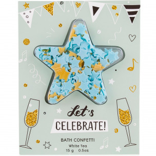 "Bild 1 von 2 - Badekonfetti ""Let's Celebrate"" White Tea in Grußkarte (15 g)"