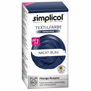 Bild 1 von 1 - simplicol Textilfarbe intensiv All-in-1 1808 Nacht-Blau (150 ml + 400 g)