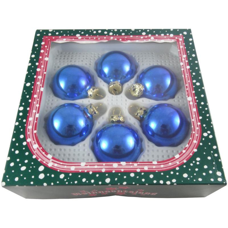 Christbaumkugeln Blau.Christbaumkugeln Blau Glänzend 5 Cm 6 St
