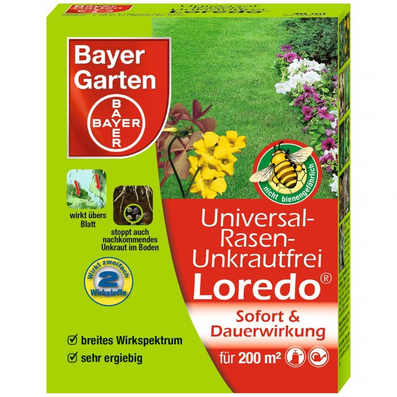 bayer garten universal rasenunkrautfrei loredo 40 ml pzn 99002400 avivamed ihre. Black Bedroom Furniture Sets. Home Design Ideas